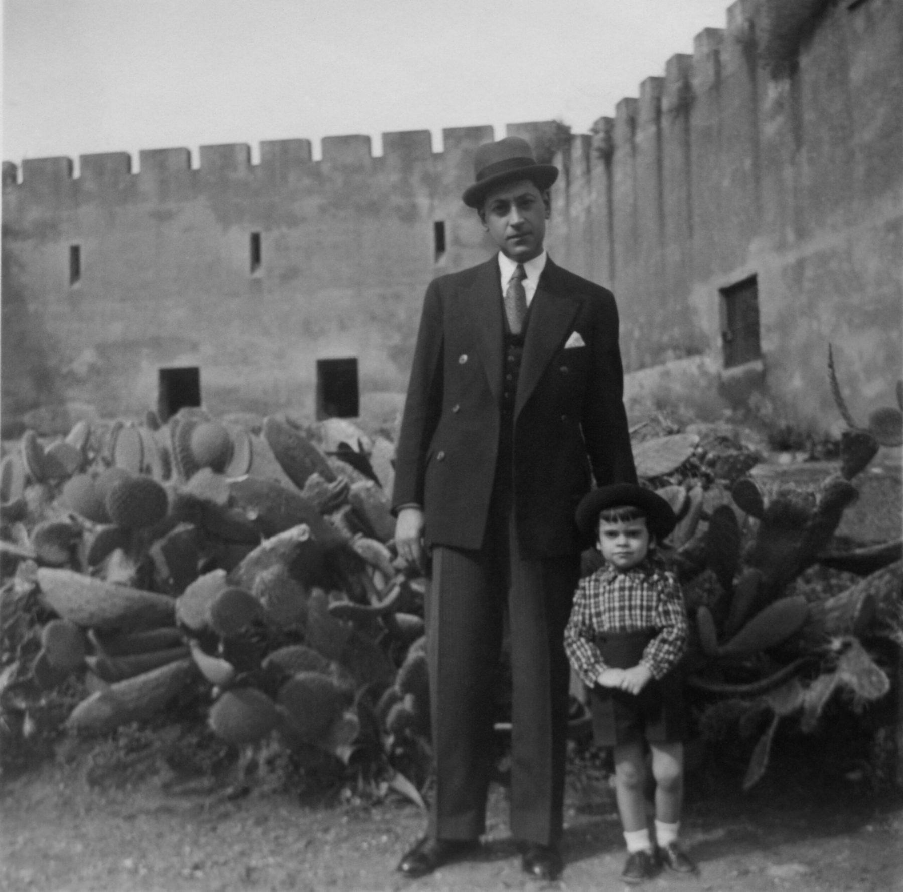 Nuno and Papa in the Castle Garden, Somewhere in Portugal, circa 1930's